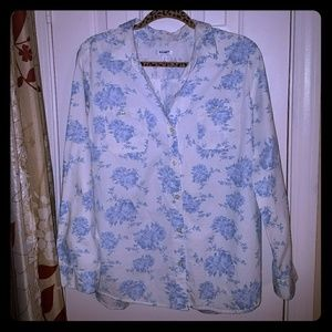 Old Navy Floral Button Down Long Sleeve Shirt Sz L
